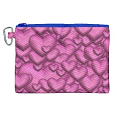 Shimmering Hearts Pink Canvas Cosmetic Bag (xl)
