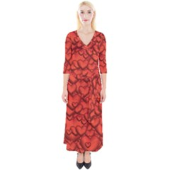 Shimmering Hearts Deep Red Quarter Sleeve Wrap Maxi Dress