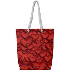 Shimmering Hearts Deep Red Full Print Rope Handle Tote (small)