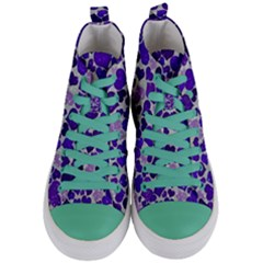 Sparkling Hearts Blue Women s Mid Top Canvas Sneakers