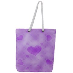 Soft Hearts D Full Print Rope Handle Tote (large)