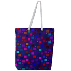 Squares Square Background Abstract Full Print Rope Handle Tote (large)