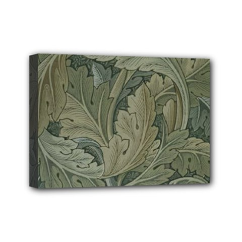Vintage Background Green Leaves Mini Canvas 7  X 5