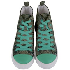 Vintage Background Green Leaves Women s Mid Top Canvas Sneakers