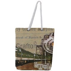 Train Vintage Tracks Travel Old Full Print Rope Handle Tote (large)