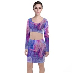 Marbled,ultraviolet,violet,purple,pink,blue,white,stone,marble,modern,trendy,beautiful Long Sleeve Crop Top & Bodycon Skirt Set