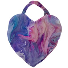 Marbled,ultraviolet,violet,purple,pink,blue,white,stone,marble,modern,trendy,beautiful Giant Heart Shaped Tote