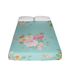 Mint,shabby Chic,floral,pink,vintage,girly,cute Fitted Sheet (full/ Double Size)