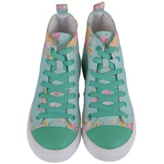 Mint,shabby Chic,floral,pink,vintage,girly,cute Women s Mid Top Canvas Sneakers