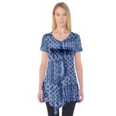 Knitted Wool Square Blue Short Sleeve Tunic