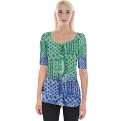 Knitted Wool Square Blue Green Wide Neckline Tee