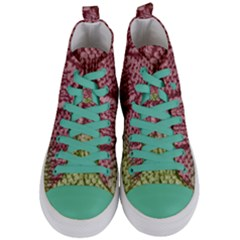 Knitted Wool Square Pink Green Women s Mid Top Canvas Sneakers
