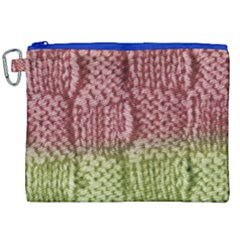 Knitted Wool Square Pink Green Canvas Cosmetic Bag (xxl)