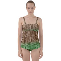 Knitted Wool Square Beige Green Twist Front Tankini Set
