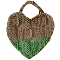 Knitted Wool Square Beige Green Giant Heart Shaped Tote