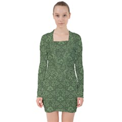 Damask Green V Neck Bodycon Long Sleeve Dress