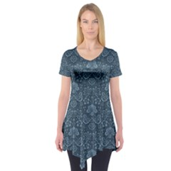 Damask Blue Short Sleeve Tunic