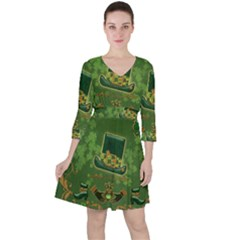 Happy St  Patrick s Day With Clover Ruffle Dress