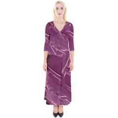 Hot Magenta Abstract Textured Fractal, Inspired By A Butterfly s Wing Quarter Sleeve Wrap Maxi Dress