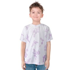 Beautiful,violet,floral,shabby Chic,pattern Kids  Cotton Tee