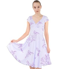 Beautiful,violet,floral,shabby Chic,pattern Cap Sleeve Front Wrap Midi Dress