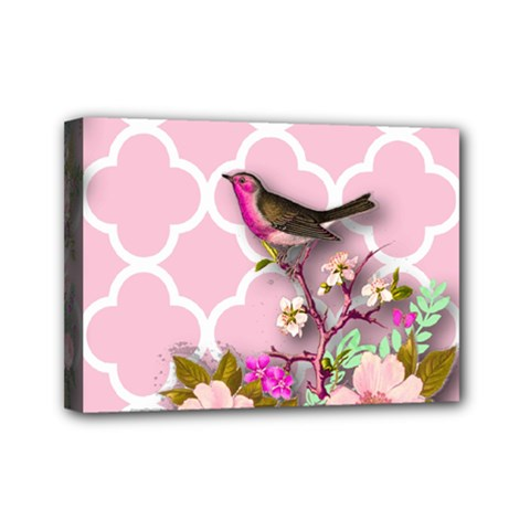 Shabby Chic, Floral,pink,birds,cute,whimsical Mini Canvas 7  X 5