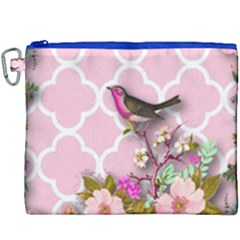 Shabby Chic, Floral,pink,birds,cute,whimsical Canvas Cosmetic Bag (xxxl)