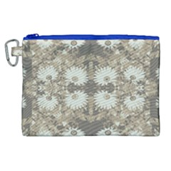 Vintage Daisy Floral Pattern Canvas Cosmetic Bag (xl)