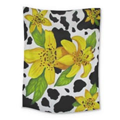 Floral Cow Print Medium Tapestry
