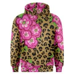 Floral Leopard Print Men s Overhead Hoodie