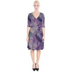 Vintage Style Graphic Print In Blues And Purples Wrap Up Cocktail Dress