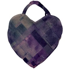 Vintage Style Graphic Print In Blues And Purples Giant Heart Shaped Tote