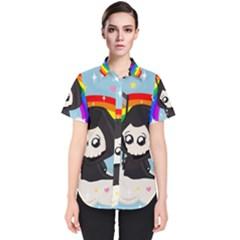 Cute Grim Reaper Women s Short Sleeve Shirt