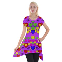 I Love This Lovely Hearty One Short Sleeve Side Drop Tunic