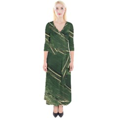Deep Green Abstract Textured Fractal, Inspired By A Butterfly s Wing Quarter Sleeve Wrap Maxi Dress