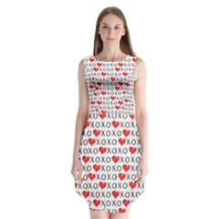 Xoxo Valentines Day Pattern Sleeveless Chiffon Dress