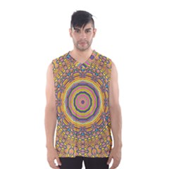 Wood Festive Rainbow Mandala Men s Basketball Tank Top