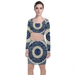 Background Vintage Japanese Long Sleeve Crop Top & Bodycon Skirt Set