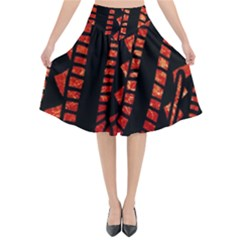 Background Abstract Red Black Flared Midi Skirt