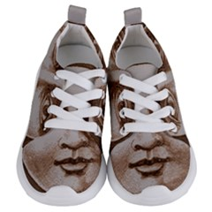 Moon Face Vintage Design Sepia Kids  Lightweight Sports Shoes