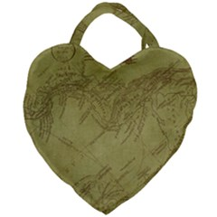 Vintage Map Background Paper Giant Heart Shaped Tote