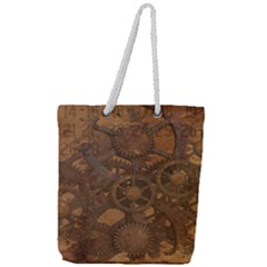 Background Steampunk Gears Grunge Full Print Rope Handle Tote (large)