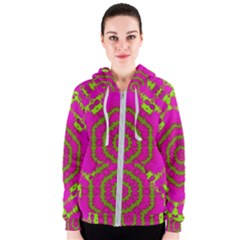 Fern Forest Star Mandala Decorative Women s Zipper Hoodie