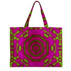 Fern Forest Star Mandala Decorative Zipper Mini Tote Bag
