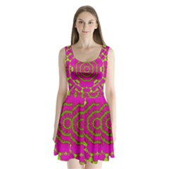 Fern Forest Star Mandala Decorative Split Back Mini Dress