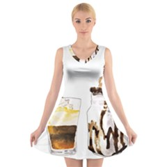 Coffee And Milkshakes V Neck Sleeveless Skater Dress