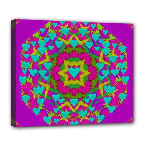Hearts In A Mandala Scenery Of Fern Deluxe Canvas 24  X 20