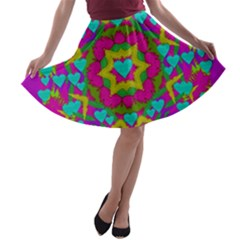 Hearts In A Mandala Scenery Of Fern A Line Skater Skirt