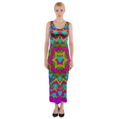 Hearts In A Mandala Scenery Of Fern Fitted Maxi Dress