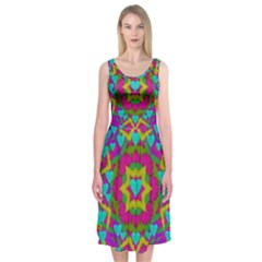 Hearts In A Mandala Scenery Of Fern Midi Sleeveless Dress